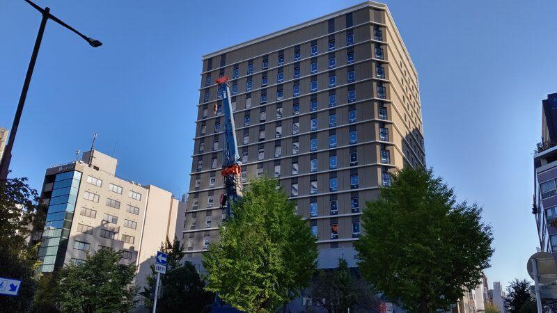 外観はほぼ完成 ホテル京阪名古屋栄建設状況 2019年11月